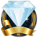 Achievement Award Diamond Jewel with Gold Ribbon. Illustration of a sparkling diamond gem award or sports plaque medal. Gold ribbon is wrapped around it. Gold Stock Images