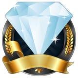 Achievement Award Diamond Jewel with Gold Ribbon Stock Images