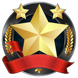 Achievement Award Star in Gold with Red Ribbon. Illustration of a gold star award or sports plaque medal. Red ribbon is wrapped around it. Gold stars and gold Stock Photo