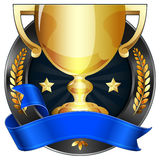 Achievement Award Trophy in Gold with Blue Ribbon. Vector illustration of a gold trophy award and plaque medal. Blue ribbon is wrapped around it. Gold stars and Stock Illustration