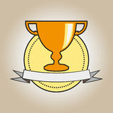 Achievement Award Trophy in Gold with Ribbon. Vector illustration of a gold trophy award and plaque medal. Grey ribbon is wrapped around it. Representations Vector Illustration