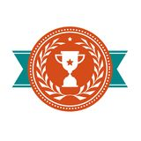 Achievement badge - award medal. With sport cup Royalty Free Stock Image
