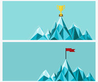 Achievement banner set. Trophy and Flag on mountain. Royalty Free Stock Image