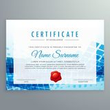 Achievement certificate template with abstract blue shapes. Vector Stock Photos