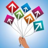 Achievement concept with kites shape Stock Images