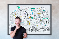 Achievement concept. Thoughtful young male with business sketch in frame on concrete wall background. Achievement concept Royalty Free Stock Photo
