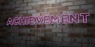 ACHIEVEMENT - Glowing Neon Sign on stonework wall - 3D rendered royalty free stock illustration Stock Photography