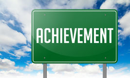 Achievement on Green Highway Signpost. Royalty Free Stock Photos