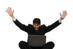Achievement - Happy successful business man Royalty Free Stock Photo