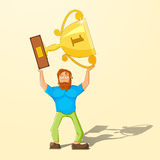 The achievement of high results. Cartoon man holding a trophy above his head. Vector illustration Royalty Free Stock Image
