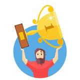 The achievement of high results. Man holding a trophy above his head. Flat  illustration Royalty Free Stock Photo