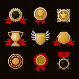 Achievement icons set Royalty Free Stock Images