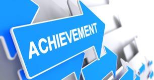 Achievement - Inscription on the Blue Arrow. 3D. Stock Photo