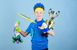 Achievement is its own reward. award ceremony. Happy child sportsman hold champion cup. Sport and health. Fitness and. Diet. Energy. success. Childhood activity stock images