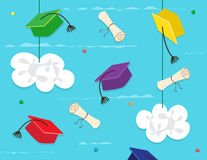 Achievement. Stylized caps and diplomas between the clouds. Eps10 stock illustration