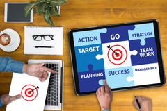 Achievement Success Goals and success and team work Jigsaw Puzz. Le to Target royalty free stock image