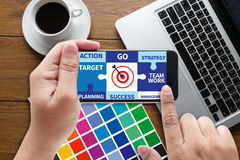 Achievement Success Goals and success and team work Jigsaw Puzz. Le to Target royalty free stock photos