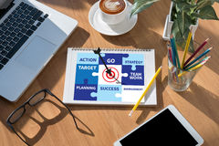 Achievement Success Goals and success and team work Jigsaw Puzz. Le to Target stock images