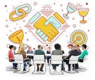 Achievement Success Teamwork Partnership Concept. Business People Discuss Achievement Success Teamwork Partnership royalty free stock photos