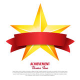 Achievement Vector Star With Red Ribbon. Yellow Sign  Place For Text. Golden Decoration Symbol. 3d Shine Icon Isolated O. Achievement Vector Star With Red Ribbon Stock Image