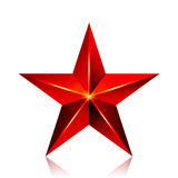 Achievement Vector Star. Red Sign. Decoration Symbol. 3d Shine Icon Isolated On White Background. Achievement Vector Star. Red Sign. Decoration Symbol. 3d Shine Stock Photography