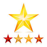 Achievement Vector Star Set. Decoration Realistic Symbols. 3d Shine Icon Isolated On White Background. Achievement Vector Star Set. Decoration Realistic Symbols Stock Photography