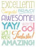 Achievement Word Art. Encouraging words with different type treatments. Excellent, Congrats, bravo, awesome, yay, way to go, you rock, fantastic, amazing Stock Photo