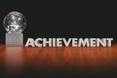 Achievement Word Award Trophy Prize Best Performance. Achievement word in 3d letters beside an award, trophy or prize given to employee, worker, athlete or Stock Photography