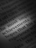 Achievements. Written in a newspaper Royalty Free Stock Images