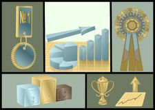 Achievements abstract set. With business symbols stock illustration
