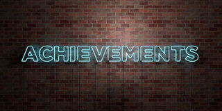 ACHIEVEMENTS - fluorescent Neon tube Sign on brickwork - Front view - 3D rendered royalty free stock picture. Can be used for online banner ads and direct royalty free illustration