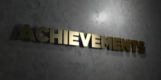 Achievements - Gold text on black background - 3D rendered royalty free stock picture. This image can be used for an online website banner ad or a print stock illustration