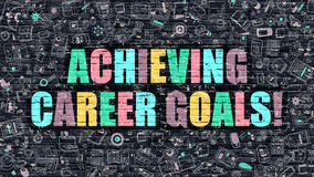 Achieving Career Goals Concept with Doodle Design Icons. Royalty Free Stock Photos