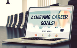 Achieving Career Goals - on Laptop Screen. Closeup. 3D. Royalty Free Stock Photos