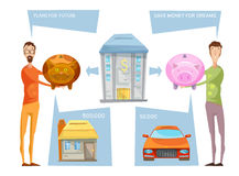 Achieving Financial Goals Concept. Financial goals conceptual composition with two male characters holding still banks with thought bubbles and desires vector Stock Photos
