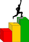 Achieving Success. Man hops colorful steps up demonstrating success achievement Royalty Free Stock Photo