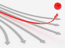 Achieving the target. A computer generated image representing some grey arrows and a red one thar achieve the target - Concept of having an objective Royalty Free Stock Images