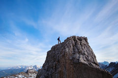 Achievment concept, climber on top of the mountain Royalty Free Stock Photography