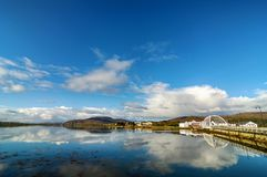 Achill island bridge with achill island town in the distance. Beautiful irish village in county mayo along the wild atlantic way Royalty Free Stock Photography