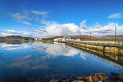 Achill island bridge with achill island town in the distance. Beautiful irish village in county mayo along the wild atlantic way Stock Photography