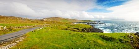 Achill Island Seascape.Panorama. Rugged Achill Island Coastline from Atlantic Drive, County Mayo, Ireland Royalty Free Stock Photo