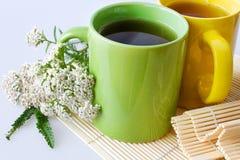 Achillea millefolium plant with flowers / fresh Yarrow tea Stock Photos