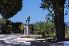 Statues of Athletes in Garden the Achilleion Palace on the island of Corfu Greece built by Empress Elizabeth of Austria Sissi. Achilleion is a palace built in stock photography
