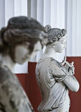 Achilleion palace, Corfu, Greece. Statue on black background showing Greek mythical muses Stock Photography