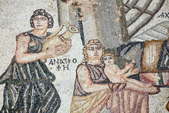 Achilles as a child Roman mosaic. Achilles as a child from the 4th century Roman mosaic of  the first bath of Archilles at the Villa of Theseus, Paphos Royalty Free Stock Photo