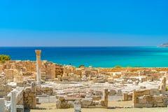 Achilles de Basiliek van Huiskourio bij het Heiligdom van Apollo bij de Kourion-Archeologische plaats van de Werelderfenis dichtb stock fotografie