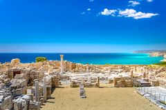 Achilles de Basiliek van Huiskourio bij het Heiligdom van Apollo bij de Kourion-Archeologische plaats van de Werelderfenis dichtb royalty-vrije stock foto