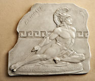 Achilles engraving. Engraving on a stone of ancient hero Achilles royalty free stock photography