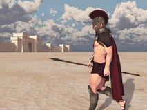 Achilles, Grecki bohater Trojańska wojna, iść zwalczać przeciw Troja royalty ilustracja