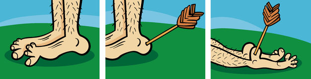 Achilles heel cartoon illustration Stock Images
